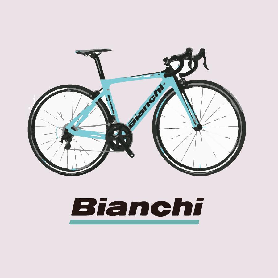 ビアンキの自転車イラストとロゴ