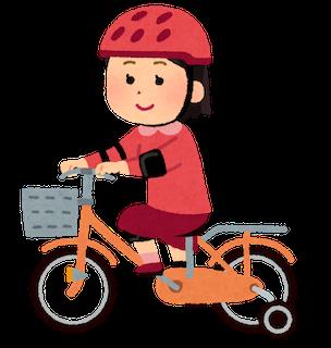 ヘルメットをかぶって自転車に乗る人