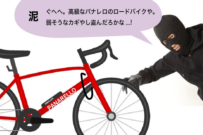 自転車を盗もうとする泥棒