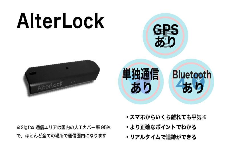 オルターロックでは、GPSとsigfox®というモバイル通信の組み合わせで、リアルタイムで正確な位置をトラッキング可能です。