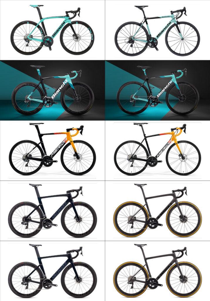 Bianchiの2020/2021及び各社のロードバイクを比較した画像